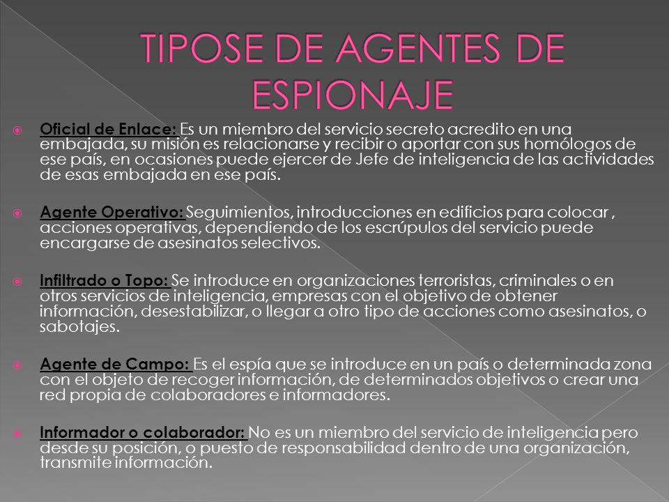 Oficial de Enlace: Es un miembro del servicio secreto acredito en una embajada, su misión es relacionarse y recibir o aportar con sus homólogos de ese