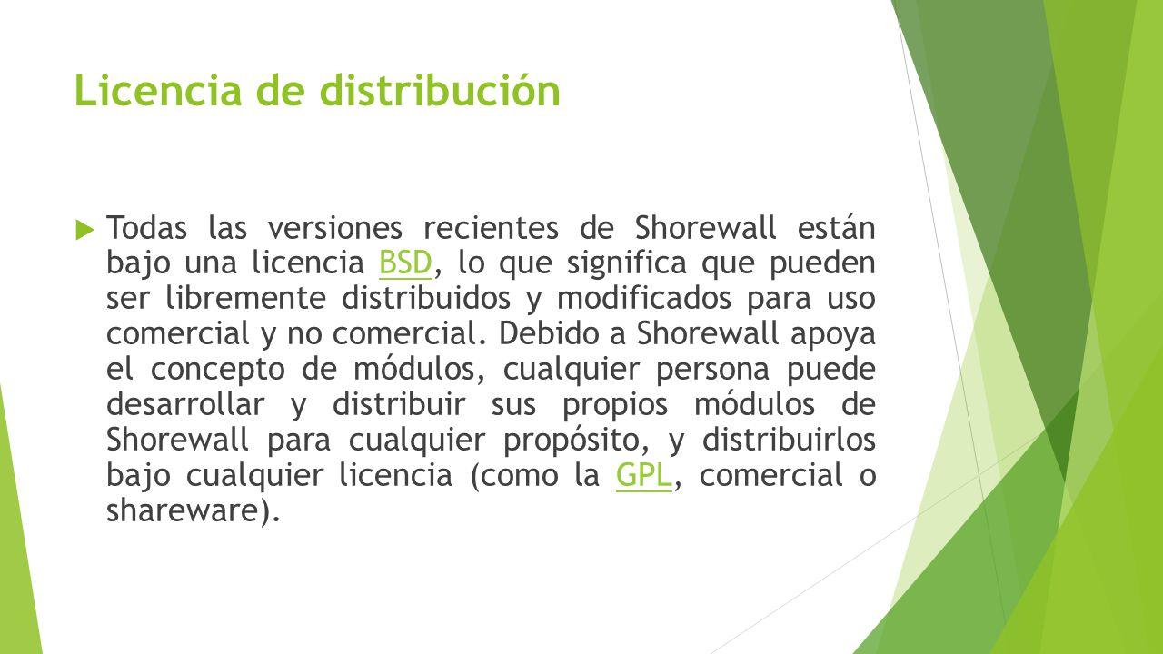 Licencia de distribución Todas las versiones recientes de Shorewall están bajo una licencia BSD, lo que significa que pueden ser libremente distribuidos y modificados para uso comercial y no comercial.