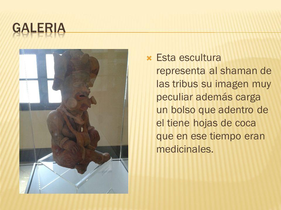 Esta escultura representa al shaman de las tribus su imagen muy peculiar además carga un bolso que adentro de el tiene hojas de coca que en ese tiempo eran medicinales.