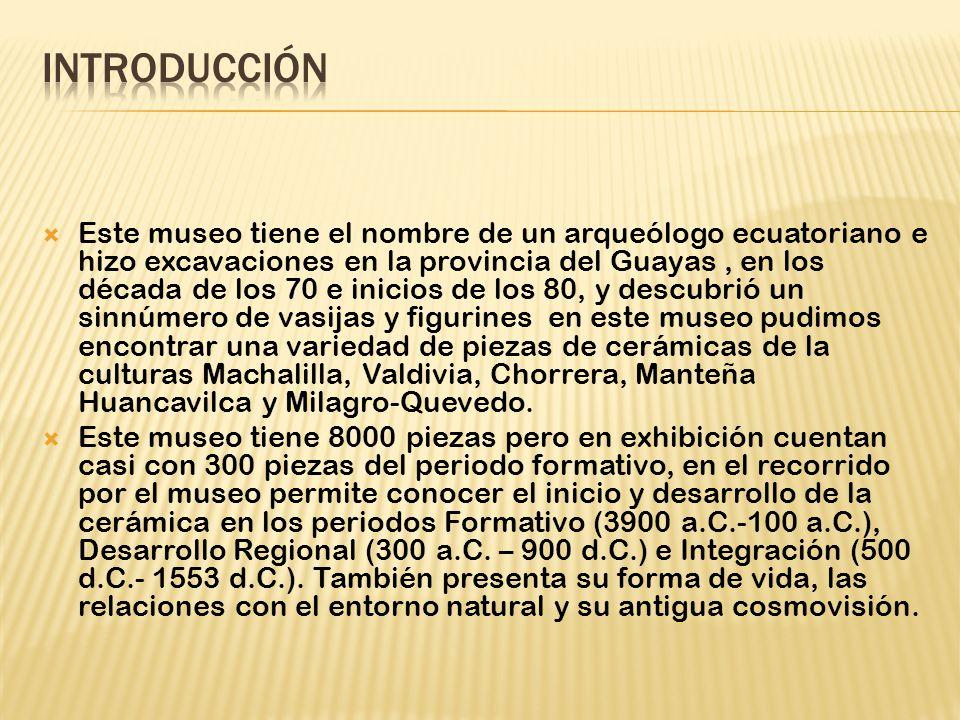 Este museo tiene el nombre de un arqueólogo ecuatoriano e hizo excavaciones en la provincia del Guayas, en los década de los 70 e inicios de los 80, y descubrió un sinnúmero de vasijas y figurines en este museo pudimos encontrar una variedad de piezas de cerámicas de la culturas Machalilla, Valdivia, Chorrera, Manteña Huancavilca y Milagro-Quevedo.