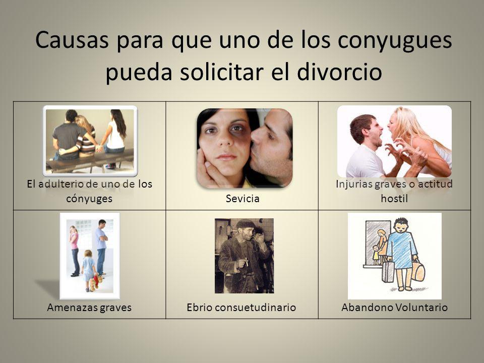 Causas para que uno de los conyugues pueda solicitar el divorcio El adulterio de uno de los cónyuges Sevicia Injurias graves o actitud hostil Amenazas