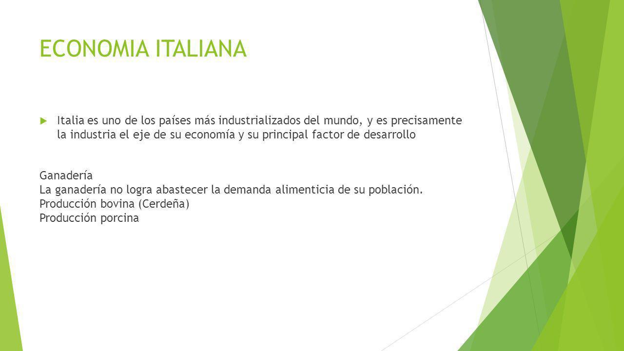 ECONOMIA ITALIANA Italia es uno de los países más industrializados del mundo, y es precisamente la industria el eje de su economía y su principal fact