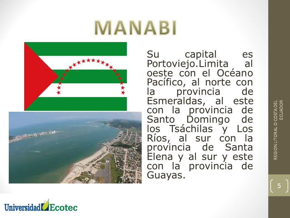 Su capital es Portoviejo.Limita al oeste con el Océano Pacífico, al norte con la provincia de Esmeraldas, al este con la provincia de Santo Domingo de