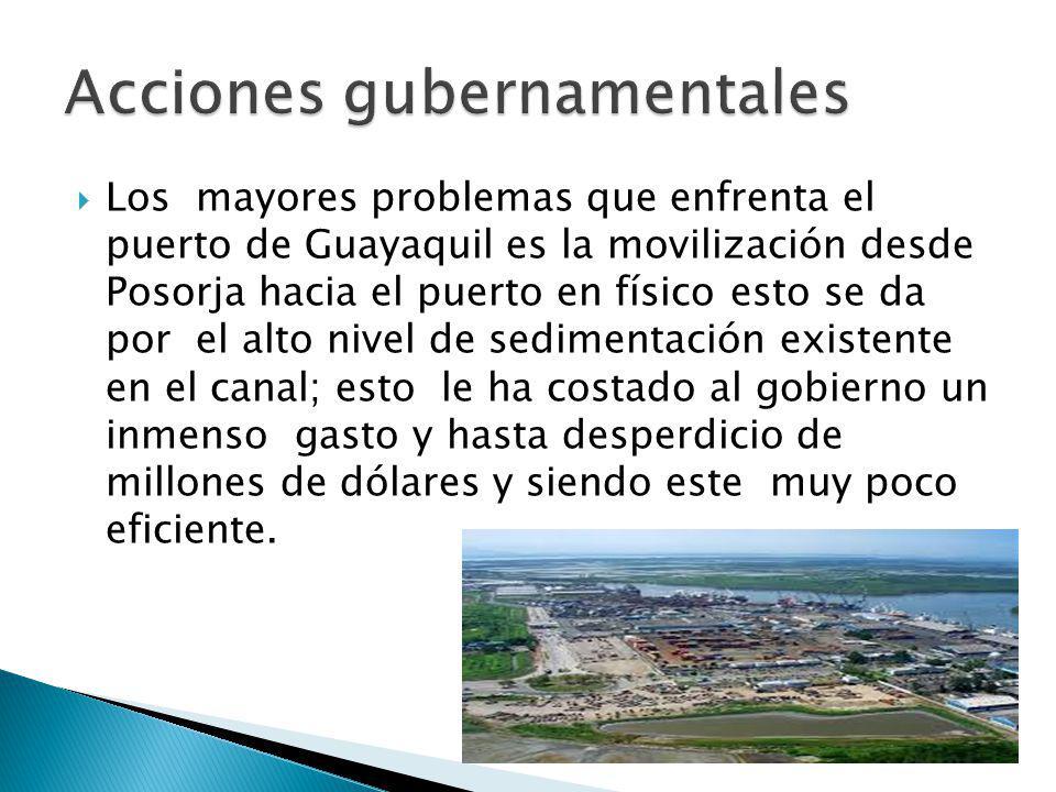 Los mayores problemas que enfrenta el puerto de Guayaquil es la movilización desde Posorja hacia el puerto en físico esto se da por el alto nivel de s
