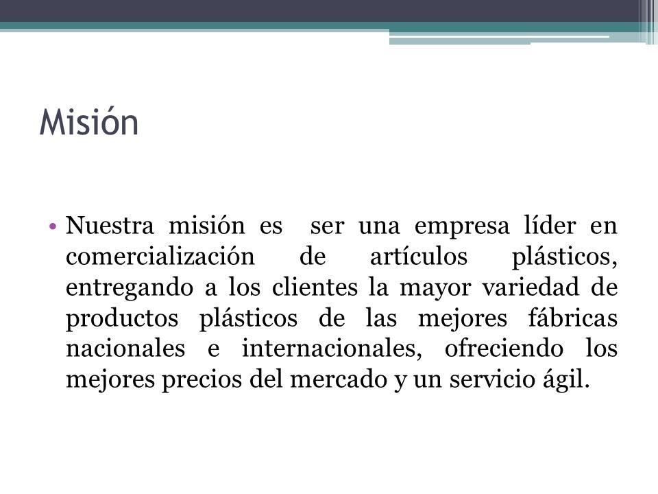 Misión Nuestra misión es ser una empresa líder en comercialización de artículos plásticos, entregando a los clientes la mayor variedad de productos pl