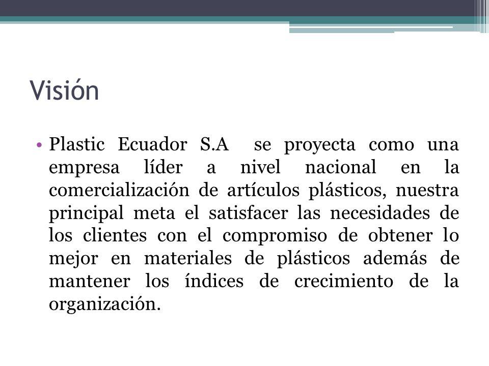 Visión Plastic Ecuador S.A se proyecta como una empresa líder a nivel nacional en la comercialización de artículos plásticos, nuestra principal meta e