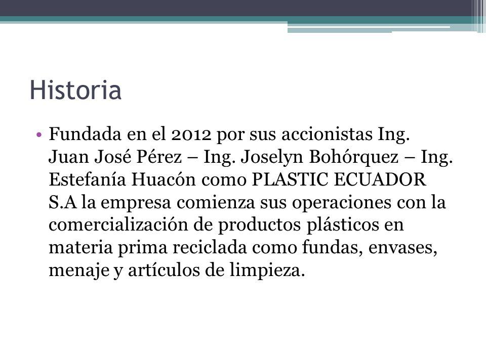 Historia Fundada en el 2012 por sus accionistas Ing. Juan José Pérez – Ing. Joselyn Bohórquez – Ing. Estefanía Huacón como PLASTIC ECUADOR S.A la empr