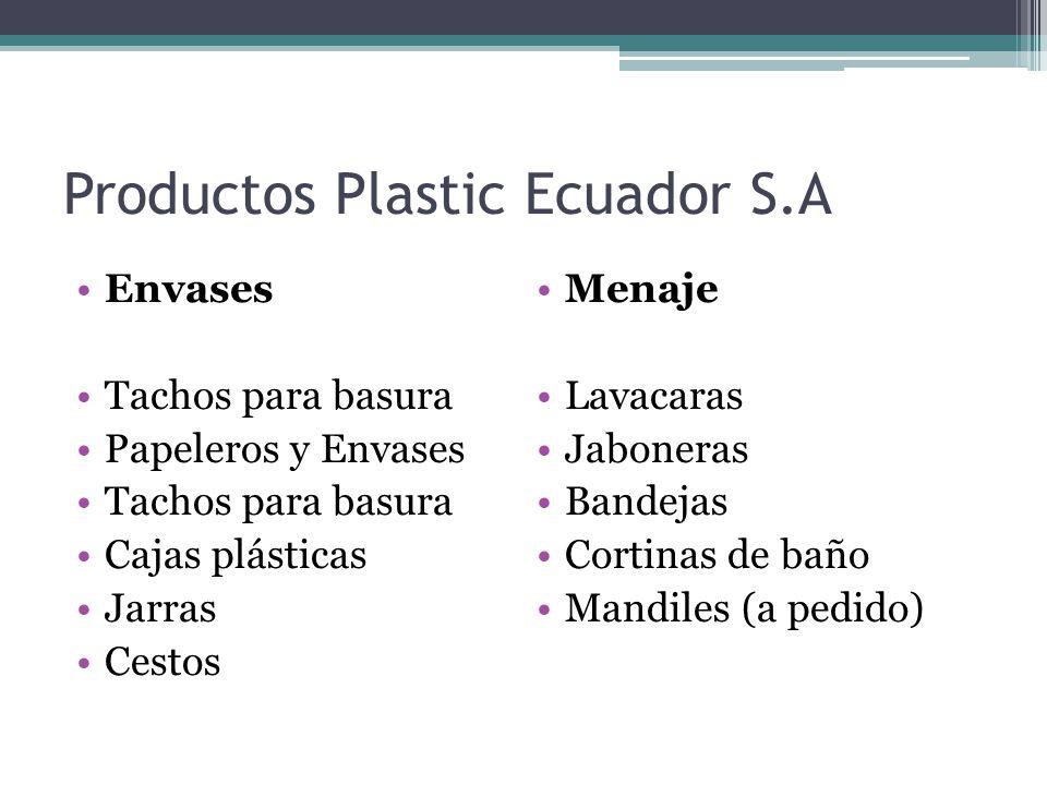 Productos Plastic Ecuador S.A Envases Tachos para basura Papeleros y Envases Tachos para basura Cajas plásticas Jarras Cestos Menaje Lavacaras Jaboner