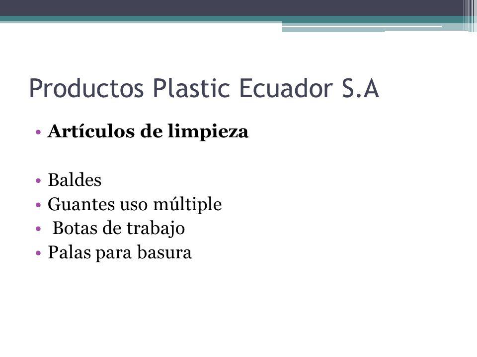 Productos Plastic Ecuador S.A Artículos de limpieza Baldes Guantes uso múltiple Botas de trabajo Palas para basura