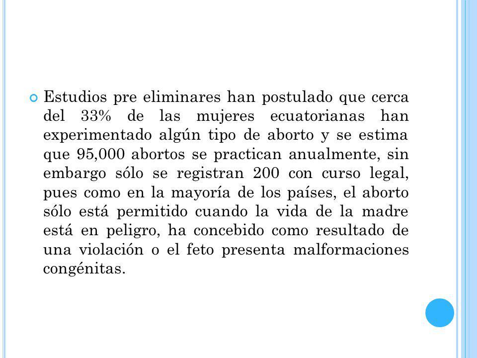 Estudios pre eliminares han postulado que cerca del 33% de las mujeres ecuatorianas han experimentado algún tipo de aborto y se estima que 95,000 abortos se practican anualmente, sin embargo sólo se registran 200 con curso legal, pues como en la mayoría de los países, el aborto sólo está permitido cuando la vida de la madre está en peligro, ha concebido como resultado de una violación o el feto presenta malformaciones congénitas.