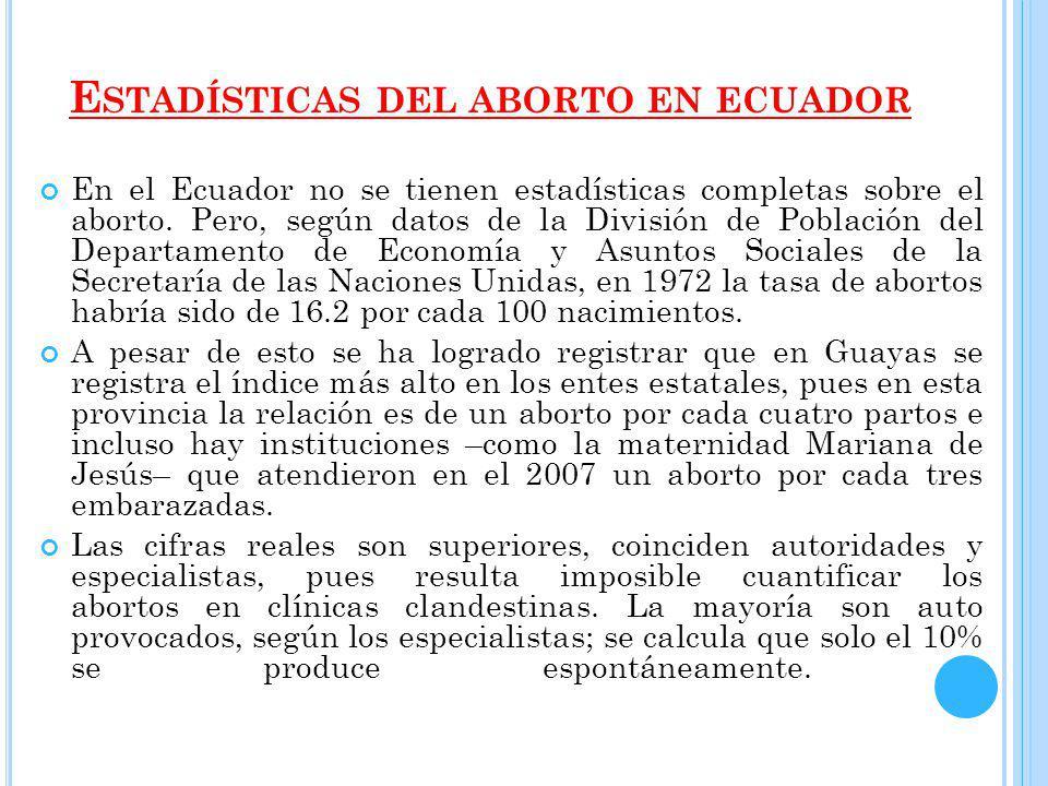 E STADÍSTICAS DEL ABORTO EN ECUADOR En el Ecuador no se tienen estadísticas completas sobre el aborto.