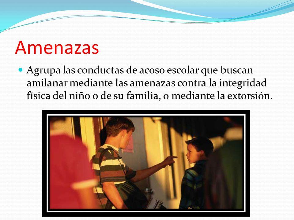 Amenazas Agrupa las conductas de acoso escolar que buscan amilanar mediante las amenazas contra la integridad física del niño o de su familia, o mediante la extorsión.