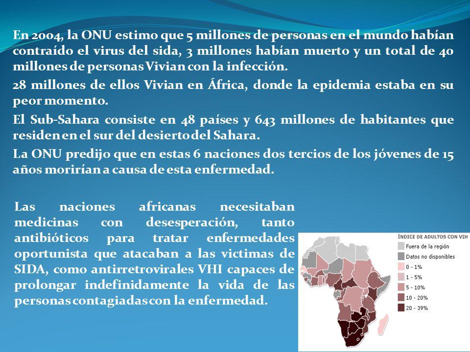 En 2004, la ONU estimo que 5 millones de personas en el mundo habían contraído el virus del sida, 3 millones habían muerto y un total de 40 millones d