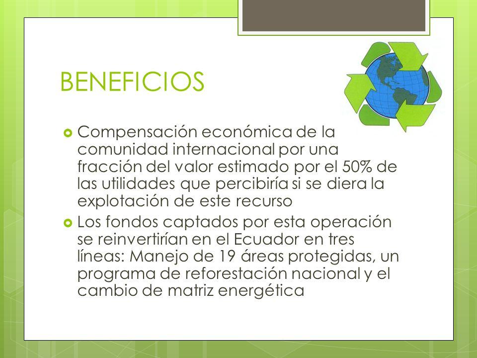 BENEFICIOS Compensación económica de la comunidad internacional por una fracción del valor estimado por el 50% de las utilidades que percibiría si se