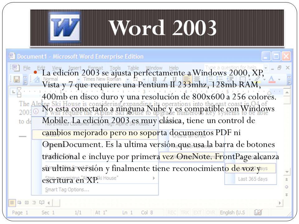 La edición 2003 se ajusta perfectamente a Windows 2000, XP, Vista y 7 que requiere una Pentium II 233mhz, 128mb RAM, 400mb en disco duro y una resoluc
