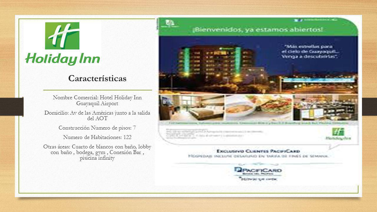 Características Nombre Comercial: Hotel Holiday Inn Guayaquil Airport Domicilio: Av de las Amèricas junto a la salida del AOT Construcción Numero de pisos: 7 Numero de Habitaciones: 122 Otras áreas: Cuarto de blancos con baño, lobby con baño, bodega, gym, Conexión Bar, pisicina infinity