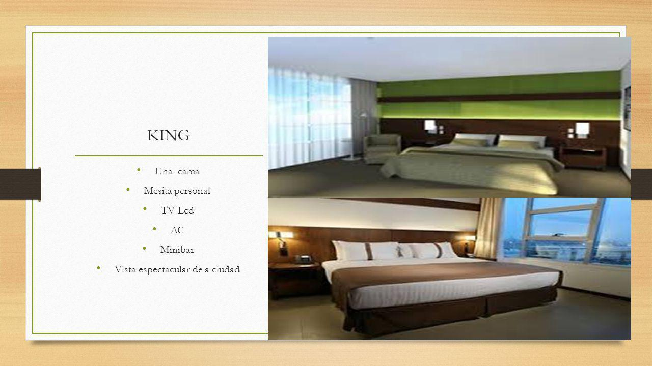 KING Una cama Mesita personal TV Lcd AC Minibar Vista espectacular de a ciudad
