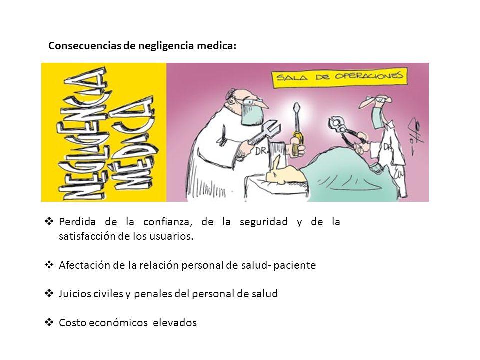 Consecuencias de negligencia medica: Perdida de la confianza, de la seguridad y de la satisfacción de los usuarios. Afectación de la relación personal