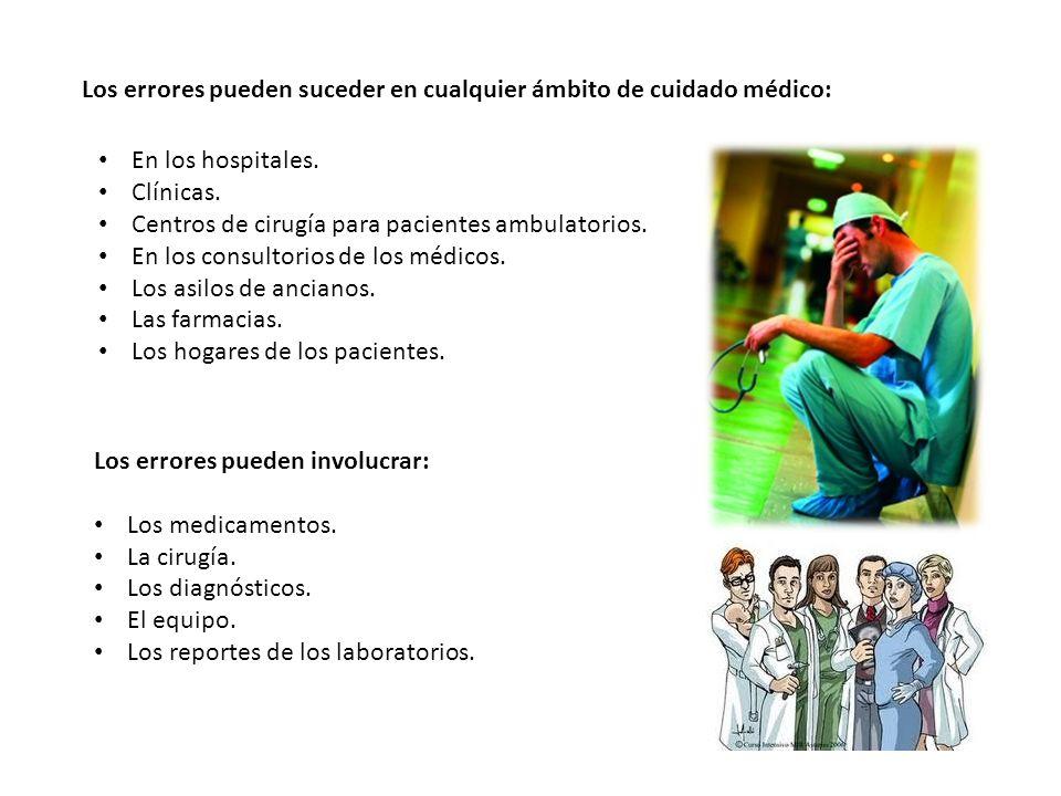 Los errores pueden suceder en cualquier ámbito de cuidado médico: En los hospitales. Clínicas. Centros de cirugía para pacientes ambulatorios. En los