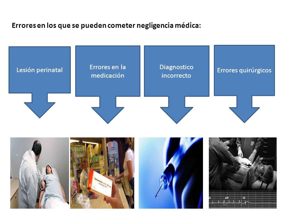 Errores en los que se pueden cometer negligencia médica: Lesión perinatal Errores en la medicación Diagnostico incorrecto Errores quirúrgicos