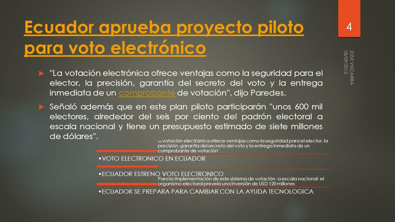 Voto electrónico fue probado por primera vez en Ecuador El Consejo Nacional Electoral de Ecuado r aplicó por primera vez el voto electrónico para las elecciones de cinco vocales en la parroquia La Esmeralda del cantón Montalvo (Los Ríos).