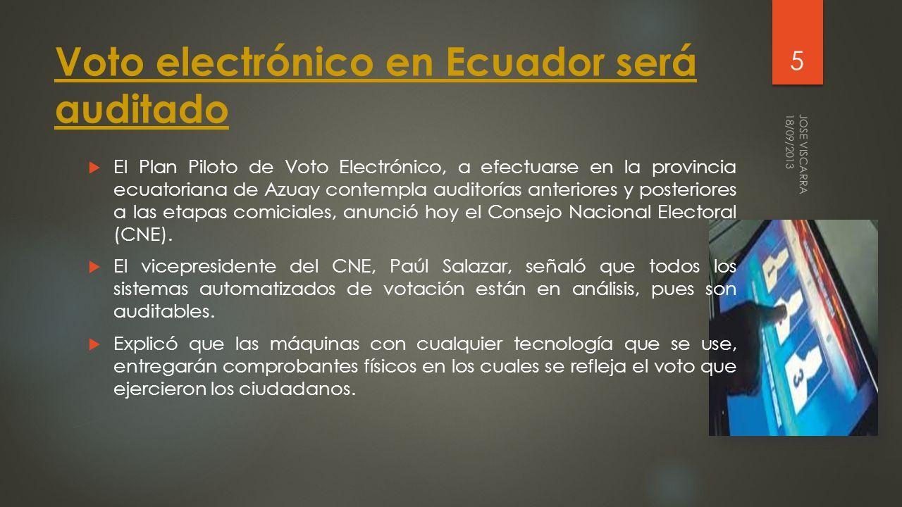 Voto electrónico en Ecuador será auditado El Plan Piloto de Voto Electrónico, a efectuarse en la provincia ecuatoriana de Azuay contempla auditorías anteriores y posteriores a las etapas comiciales, anunció hoy el Consejo Nacional Electoral (CNE).