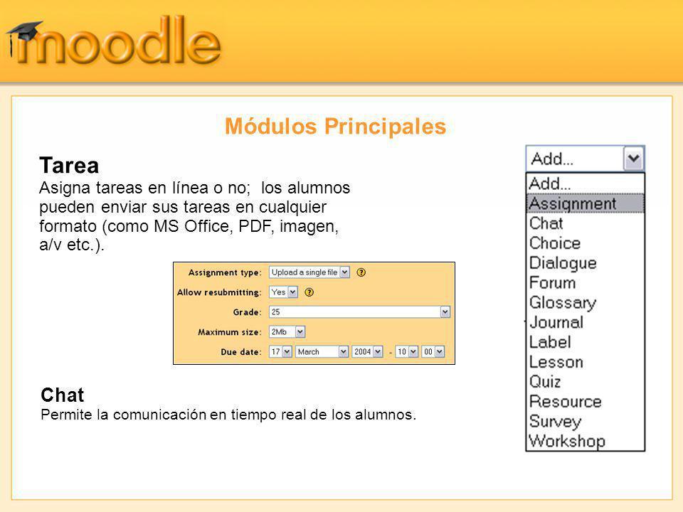 Módulos Principales Chat Permite la comunicación en tiempo real de los alumnos. Tarea Asigna tareas en línea o no; los alumnos pueden enviar sus tarea