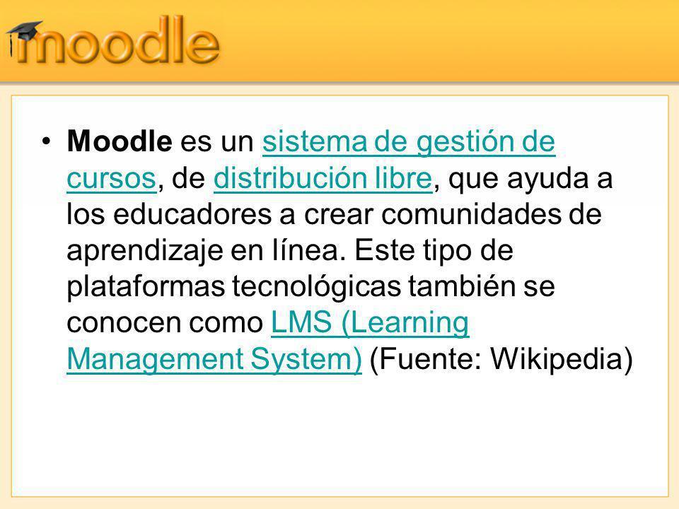 Moodle es un sistema de gestión de cursos, de distribución libre, que ayuda a los educadores a crear comunidades de aprendizaje en línea. Este tipo de