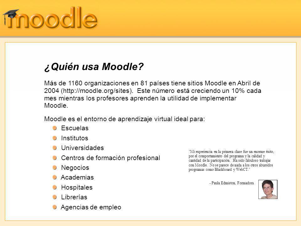Más de 1160 organizaciones en 81 países tiene sitios Moodle en Abril de 2004 (http://moodle.org/sites). Este número está creciendo un 10% cada mes mie