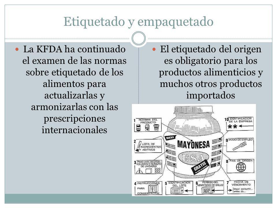Etiquetado y empaquetado La KFDA ha continuado el examen de las normas sobre etiquetado de los alimentos para actualizarlas y armonizarlas con las prescripciones internacionales El etiquetado del origen es obligatorio para los productos alimenticios y muchos otros productos importados
