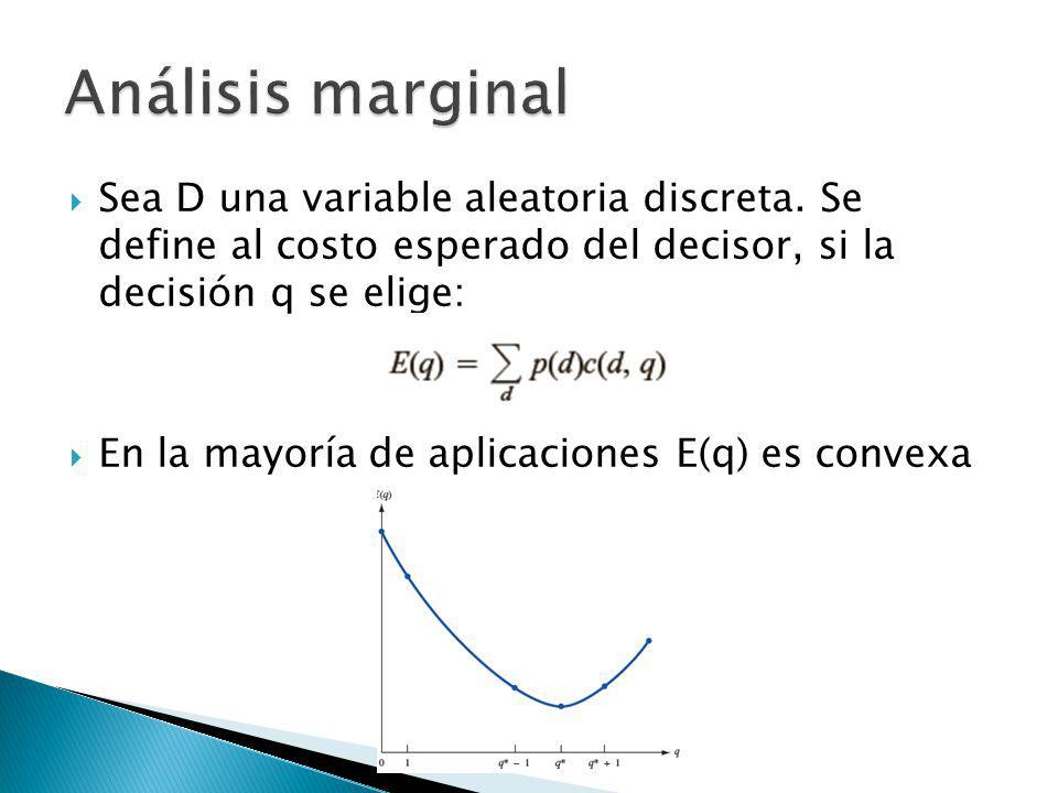 Sea D una variable aleatoria discreta. Se define al costo esperado del decisor, si la decisión q se elige: En la mayoría de aplicaciones E(q) es conve