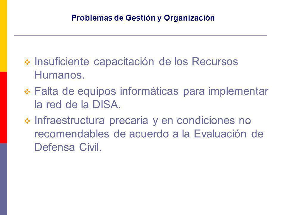 Problemas de Gestión y Organización Insuficiente capacitación de los Recursos Humanos. Falta de equipos informáticas para implementar la red de la DIS