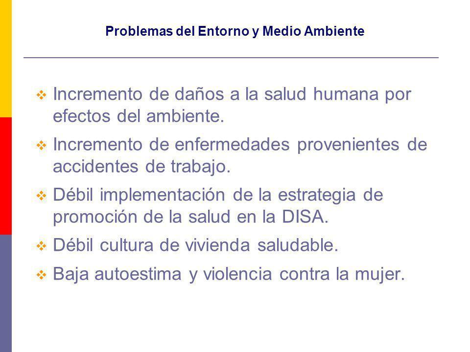Problemas del Entorno y Medio Ambiente Incremento de daños a la salud humana por efectos del ambiente.