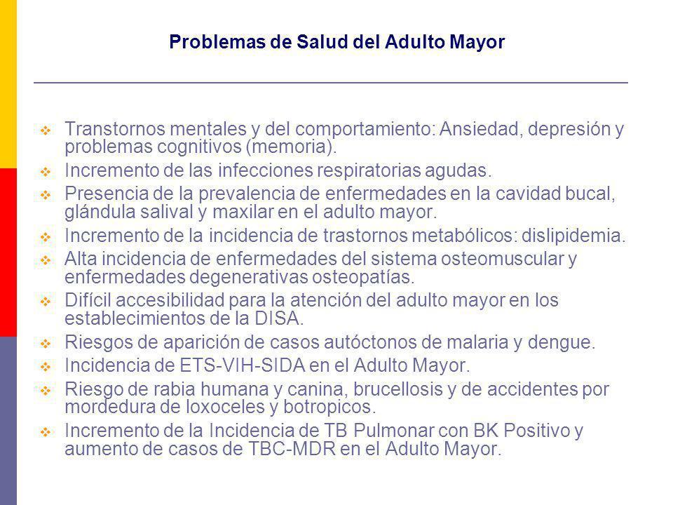 Problemas de Salud del Adulto Mayor Transtornos mentales y del comportamiento: Ansiedad, depresión y problemas cognitivos (memoria). Incremento de las