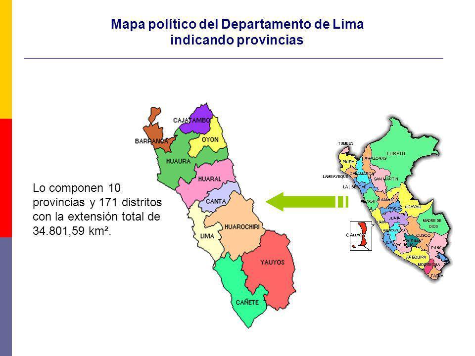 Mapa político del Departamento de Lima indicando provincias Lo componen 10 provincias y 171 distritos con la extensión total de 34.801,59 km².