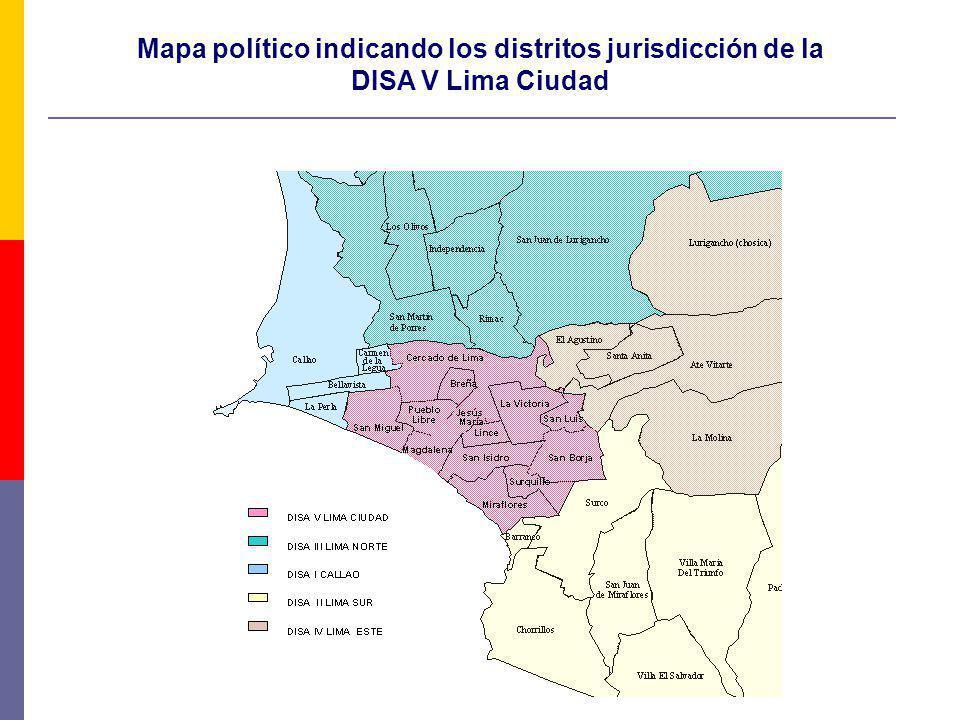 Mapa político indicando los distritos jurisdicción de la DISA V Lima Ciudad