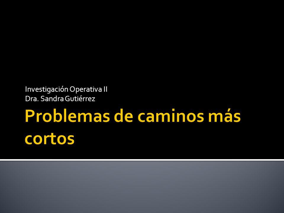 Investigación Operativa II Dra. Sandra Gutiérrez