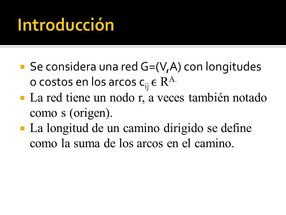 Se considera una red G=(V,A) con longitudes o costos en los arcos c ij R A.