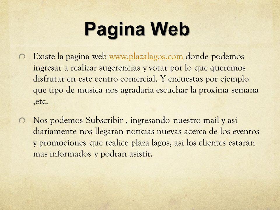 Pagina Web Existe la pagina web www.plazalagos.com donde podemos ingresar a realizar sugerencias y votar por lo que queremos disfrutar en este centro