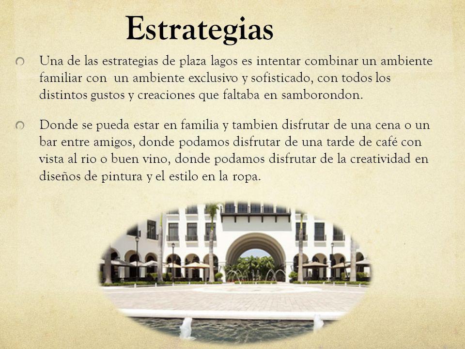 Estrategias Una de las estrategias de plaza lagos es hacer constantemente eventos, como : Fashion Week : donde unen a diferentes diseñadores Ecuatorianos combinando distintos modelos y diseños.
