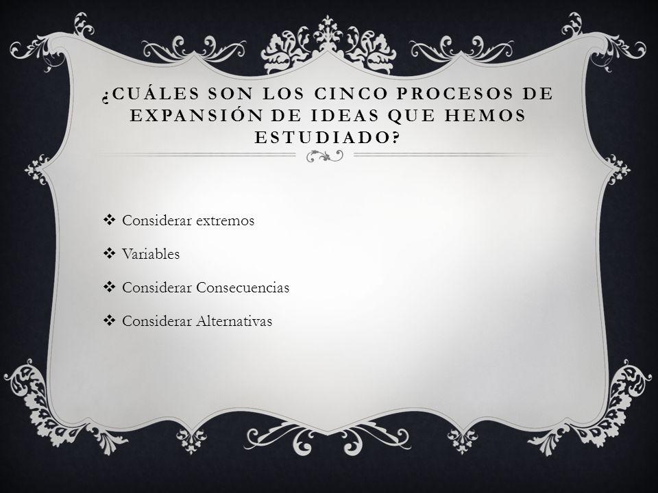 ¿CUÁLES SON LOS CINCO PROCESOS DE EXPANSIÓN DE IDEAS QUE HEMOS ESTUDIADO.