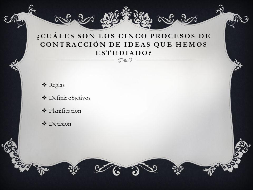¿CUÁLES SON LOS CINCO PROCESOS DE CONTRACCIÓN DE IDEAS QUE HEMOS ESTUDIADO.