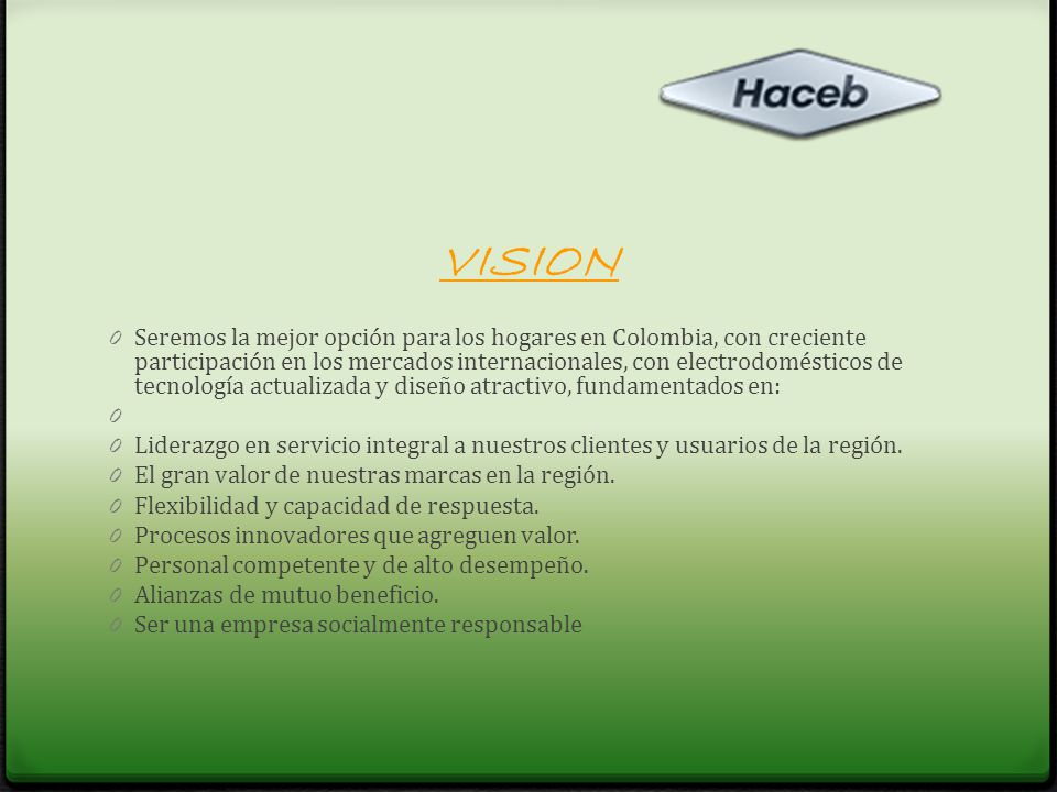 OBJETIVOS 0 Innovación 0 Participación de mercados 0 Satisfacción de clientes y usuarios 0 Crecimiento internacional 0 Productividad y calidad 0 Valorización de la Compañía 0 Valor de nuestra gente