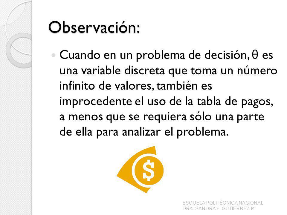 Observación: Cuando en un problema de decisión, θ es una variable discreta que toma un número infinito de valores, también es improcedente el uso de la tabla de pagos, a menos que se requiera sólo una parte de ella para analizar el problema.