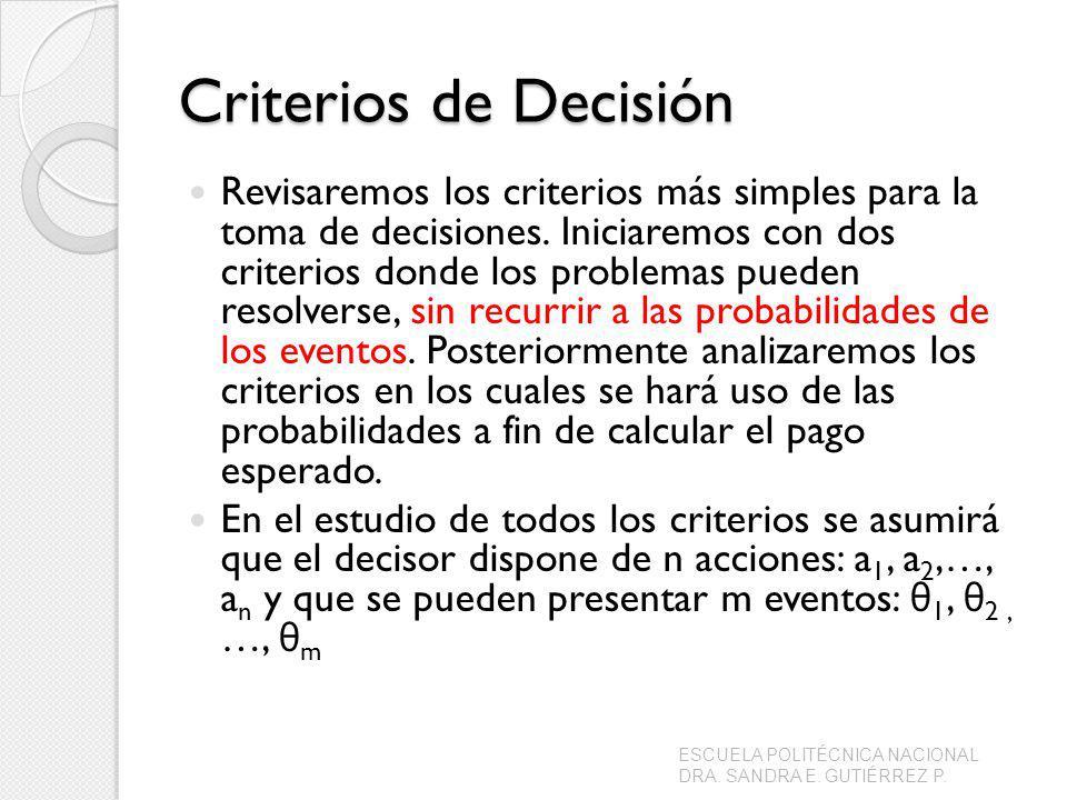 Criterios de Decisión Revisaremos los criterios más simples para la toma de decisiones. Iniciaremos con dos criterios donde los problemas pueden resol