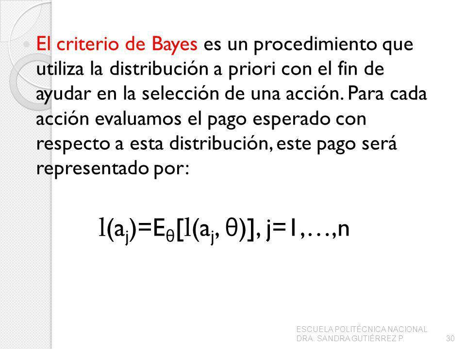 El criterio de Bayes es un procedimiento que utiliza la distribución a priori con el fin de ayudar en la selección de una acción. Para cada acción eva
