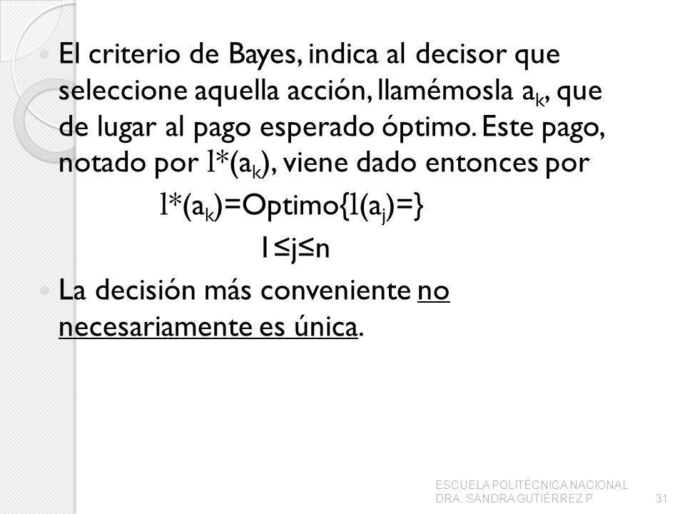 El criterio de Bayes, indica al decisor que seleccione aquella acción, llamémosla a k, que de lugar al pago esperado óptimo. Este pago, notado por l *