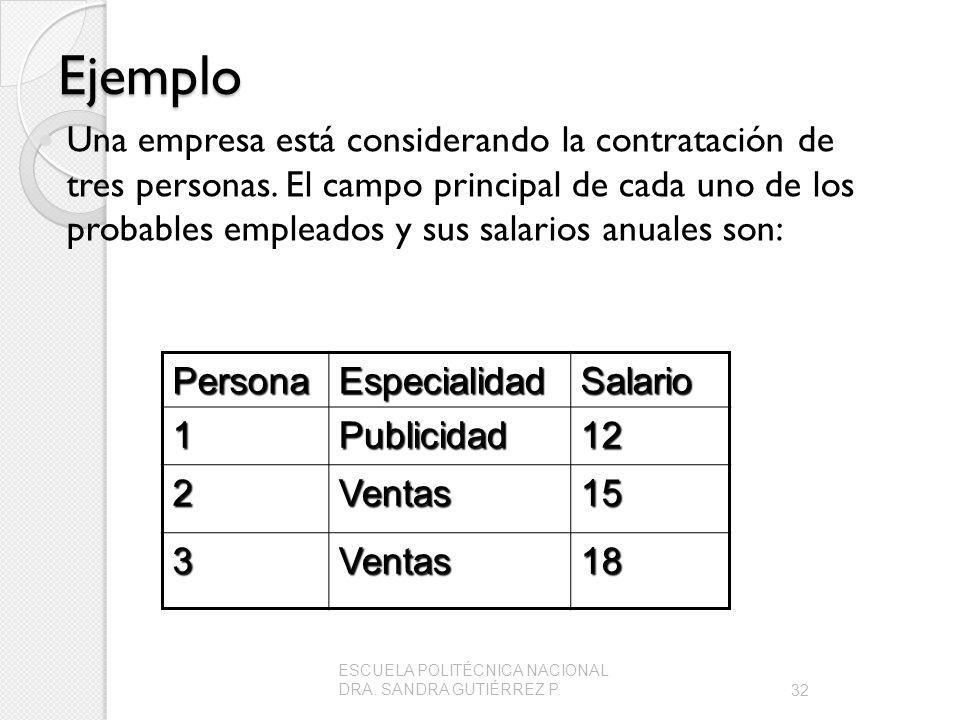 Ejemplo Una empresa está considerando la contratación de tres personas. El campo principal de cada uno de los probables empleados y sus salarios anual