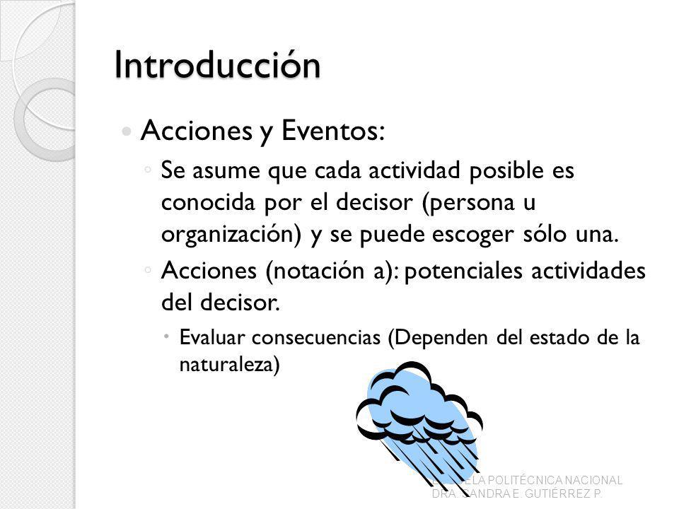 Introducción Acciones y Eventos: Se asume que cada actividad posible es conocida por el decisor (persona u organización) y se puede escoger sólo una.