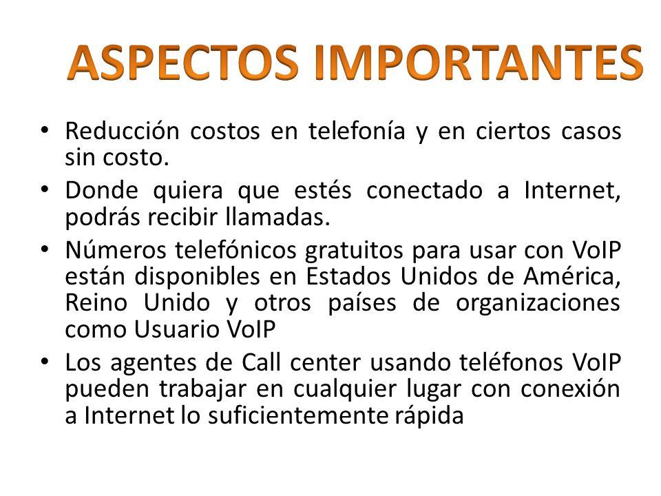 Reducción costos en telefonía y en ciertos casos sin costo. Donde quiera que estés conectado a Internet, podrás recibir llamadas. Números telefónicos